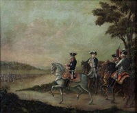 frederick ii reviewing the troops at potsdam (after copper engraving of daniel chodowieski) by frederick kemmelmeyer