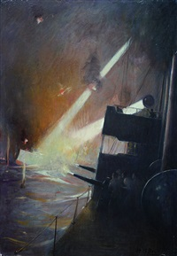 ship illuminating another during wwi naval engagement by harold matthews brett