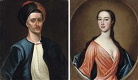 portrait of a gentleman (captain arter? + portrait of a lady; pair) by richard waitt