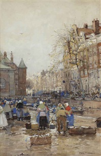 activities at the geldersekade with the waag beyond, amsterdam by hans herrmann