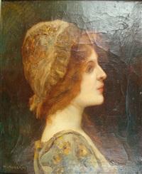 portrait de femme de profil (mme rondel ?) by henri alberti