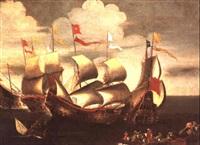 combat naval, probablement pres du port de lepante, que don juan d'autriche gagne en 1571 sur les turcs by andries van artvelt (ertvelt)