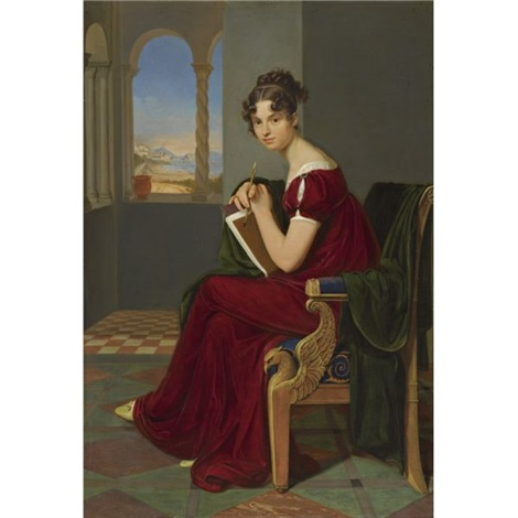 junge dame mit zeichengerät girl with a drawing instrument the countess thekla ludolf by carl christian vogel von vogelstein