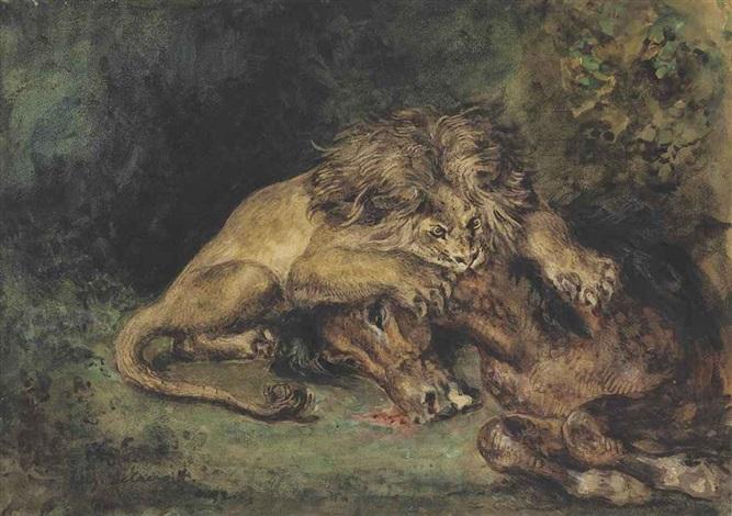lion dévorant un cheval by eugène delacroix