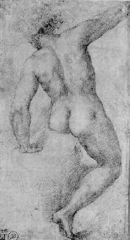 a male nude seated on a rock, seen from behind by girolamo genga
