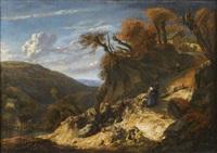 paysage escarpé avec des voyageurs by cornelis huysmans
