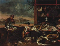a fishmonger's stall by an estuary by balthasar nebot