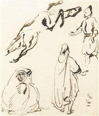 trois personnages et cheval by eugène delacroix