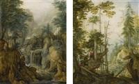 alpine landscape with torrent and hunter; alpine landscape with three hunters (2 works) by roelandt savery