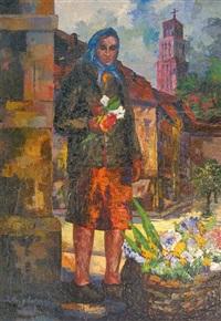 femme au panier de fleurs by juozas bagdonas