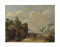 a landscape with an estuary and a deer by gillis claesz de hondecoeter