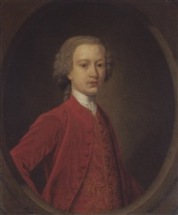 portrait of lord charles gordon, aged 17, in a red coat with a gold-embroidered waistcoat by john alexander