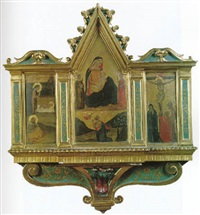 la vierge adorant l'enfant et saint joseph; la vierge d'humilité allaitant l'enfant et saint joseph; le christ en croix... by master of san lucchese