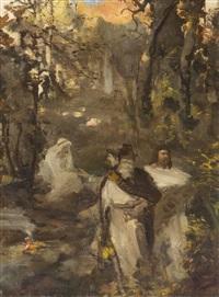 trzy postacie w cieniu zagajnika, szkic do niezidentyfikowanego obrazu by henryk siemiradzki