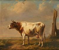 vache sur fond de paysage by louis pierre verwee