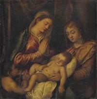 la vierge et l'enfant avec saint jean-baptiste et une sainte by titian (tiziano vecelli)