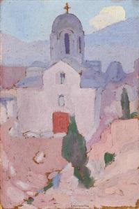 landscape with church by spyros papaloukas