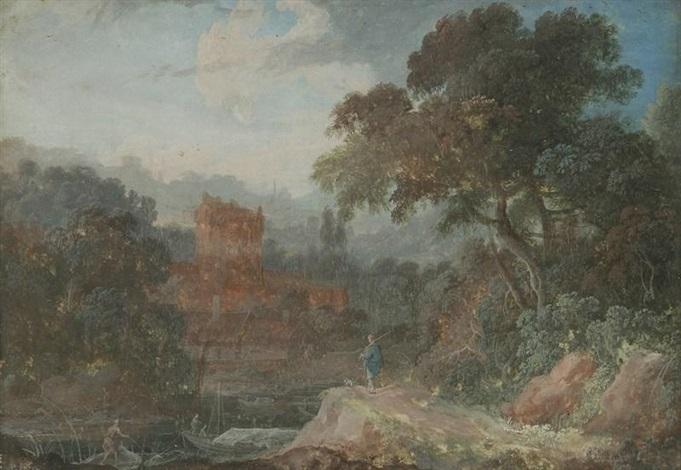 pêcheurs près des ruines dun château by pierre antoine patel