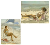 figure reading at the beach (+ another; 2 works) by peter adams