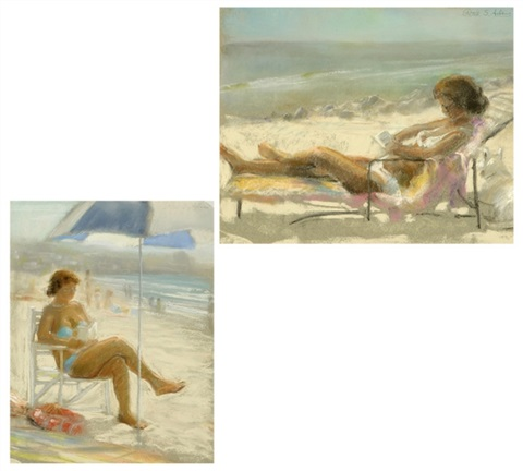 figure reading at the beach another 2 works by peter adams