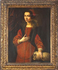 a portrait of a noblewoman with her lapdog by scipione pulzone