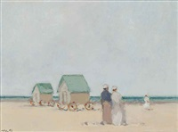 three figures on a beach and untitled (2 works) by frederick mcduff