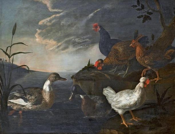 Agenda : Ca s'est passé en juin ! Paolo-antonio-barbieri-canards,-poules-et-coqs-dans-un-paysage-lacustre