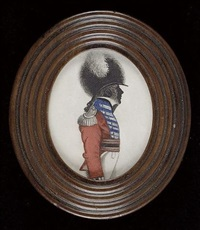 an officer (of volunteers?), his round hat with fur crest and white plume, scarlet jacket faced dark blue with silver lace in pairs and epaulettes, black sword belt worn over crimson waist sash, white by john buncombe