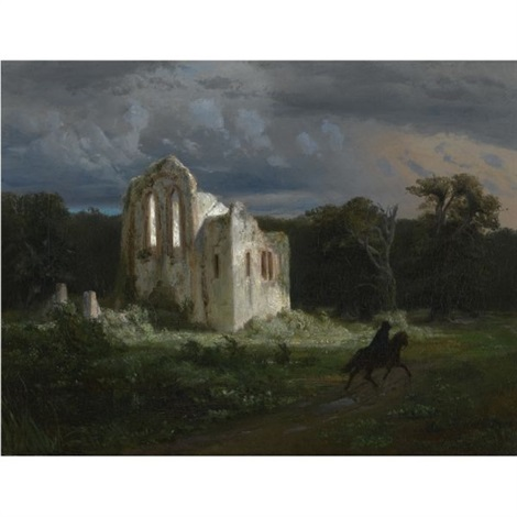 mondscheinlandschaft mit ruine moonlit landscape by arnold böcklin the elder