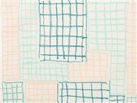 turquoise & orange grids by günther förg