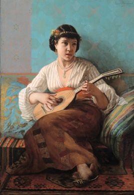 mandoline spielendes mädchen by edmond borchard
