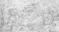 triton carrying a putto by nicoletto da modena