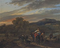 an italiante landscape with shepherds, cows and sheep by nicolaes berchem