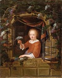 jeune fille à la fenêtre, tenant un perroquet by dominicus van tol