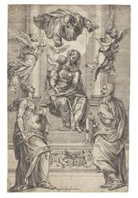thronende madonna mit kind und zwei heiligen, darüber gottvater, heiliger geist und zwei engel by giacomo valegio