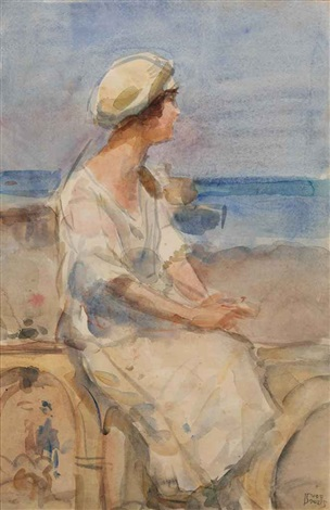 a lady at the beach by isaac israels