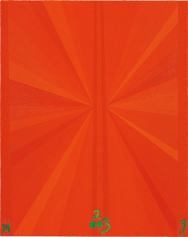 untitled orange butterfly green m g 2003 by mark grotjahn