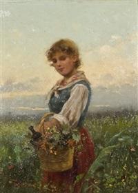 giovane contadinella con cesto in un campo by vittorio tessari