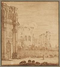 vue du forum de rome, avec bergers by adam perelle