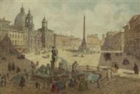 vue de la piazza navona (+ vue de la piazza di spagna; pair) by lorenzo macchi