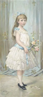 portrait of the infanta maria teresa (1862-1946) as a young girl, in a white dress with blue bows and sash, holding a bunch of roses by joszi arpad koppay