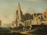 landscape with ruins and figures by willem von bemmel
