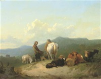 herdsmen with their cattle on a hilltop by james de rijk