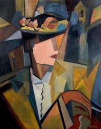 femme au chapeau fleurres by paul masson