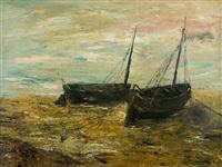 bateaux de pêche échoués sur la plage by louis artan de saint-martin