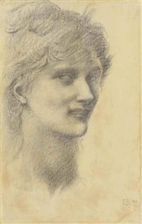 study of the head of a young woman by edward burne-jones