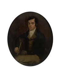 three-quarter length portrait of the poet robert burns seated, holding a silver-tipped cane by alexander nasmyth
