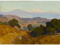 view along the santa barbara coast; eucalyptus trees (double-sided) by marion kavanaugh wachtel