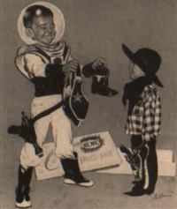 boy in space suit giving western gear to child by robert hilbert