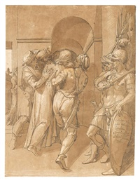 christus wird von pilatus weggeführt (after giovanni da bologna) by andrea andreani